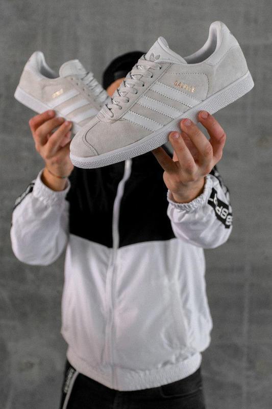 Шикарные женские кеды кроссовки adidas gazelle grey серые - Фото 3