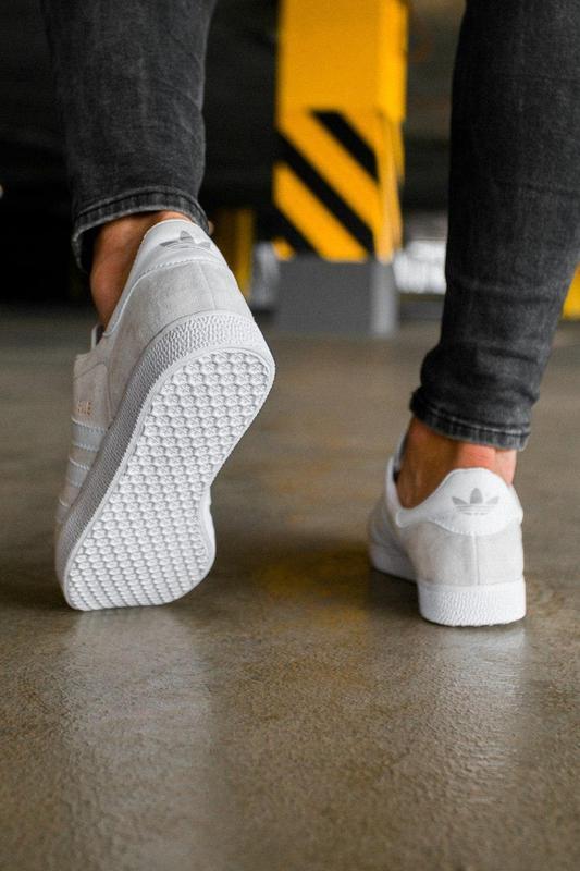 Шикарные женские кеды кроссовки adidas gazelle grey серые - Фото 5