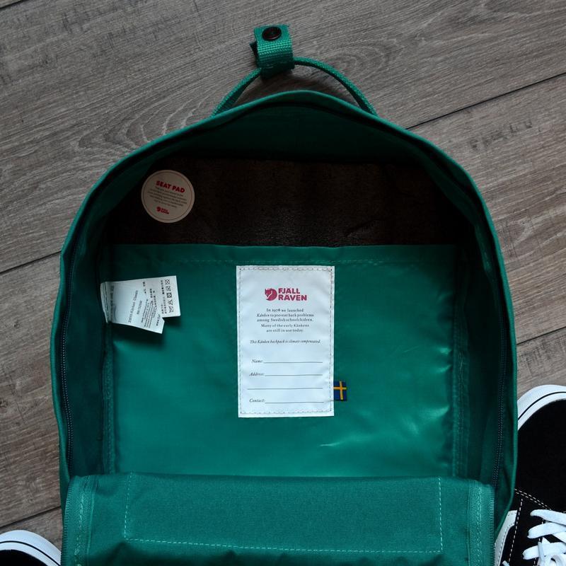 Шикарный женский рюкзак fjallraven kanken art ocean green - Фото 5