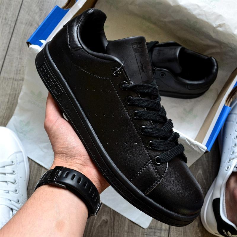 Шикарные мужские кроссовки adidas stan smith black чёрные