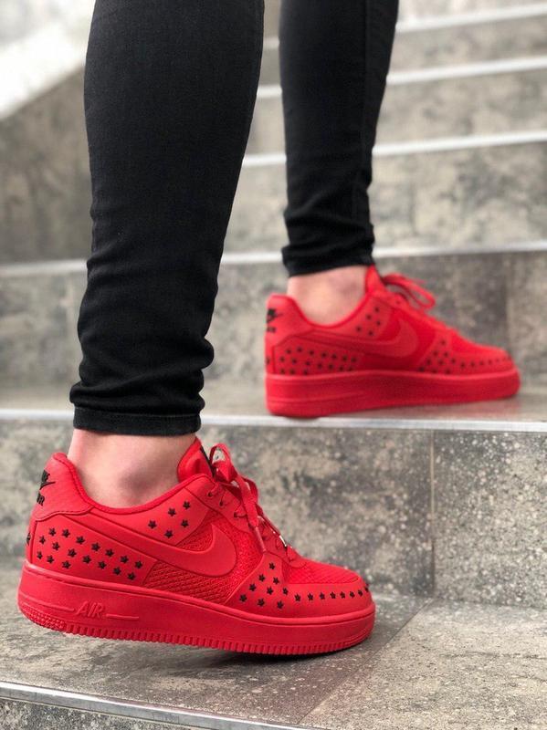 Шикарные мужские кроссовки nike air force low 1 red красные ни... - Фото 4