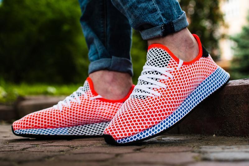 Шикарные мужские кроссовки adidas deerupt red blue красные с с...