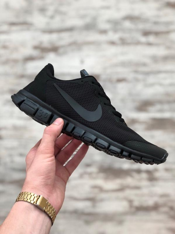 Шикарные мужские кроссовки nike free run 3.0 чёрные