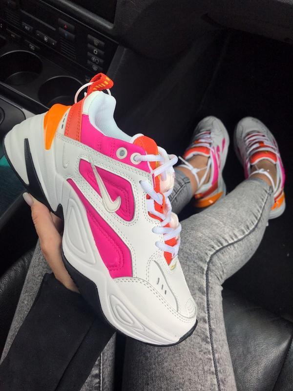 Шикарные женские кроссовки nike m2k white&pink белые с розовым