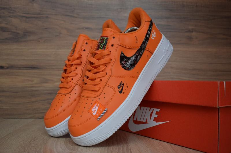 Шикарные мужские кроссовки niike air force just do it оранжевы...