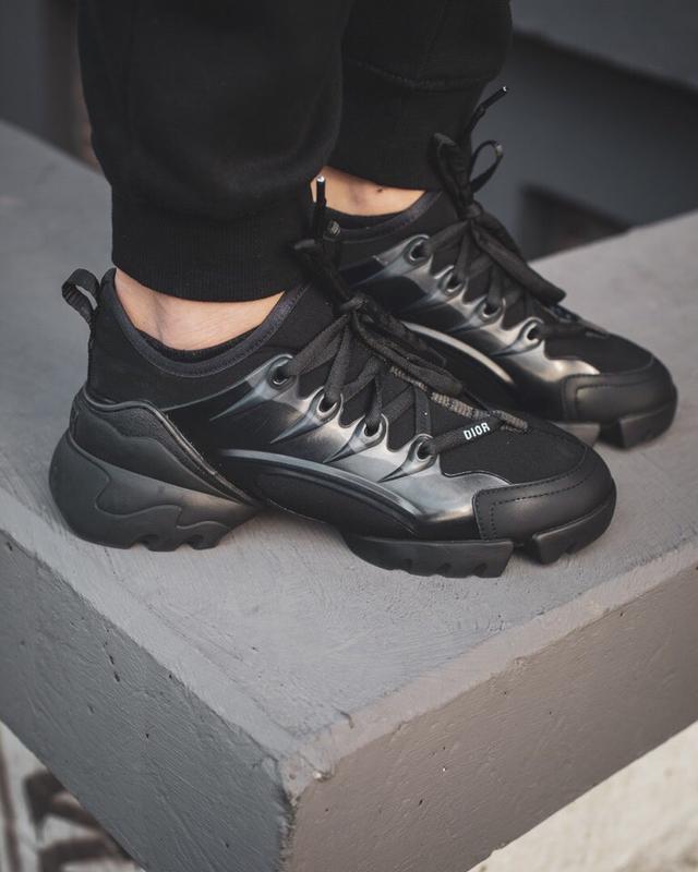 Шикарные женские кроссовки christian dior black чёрные
