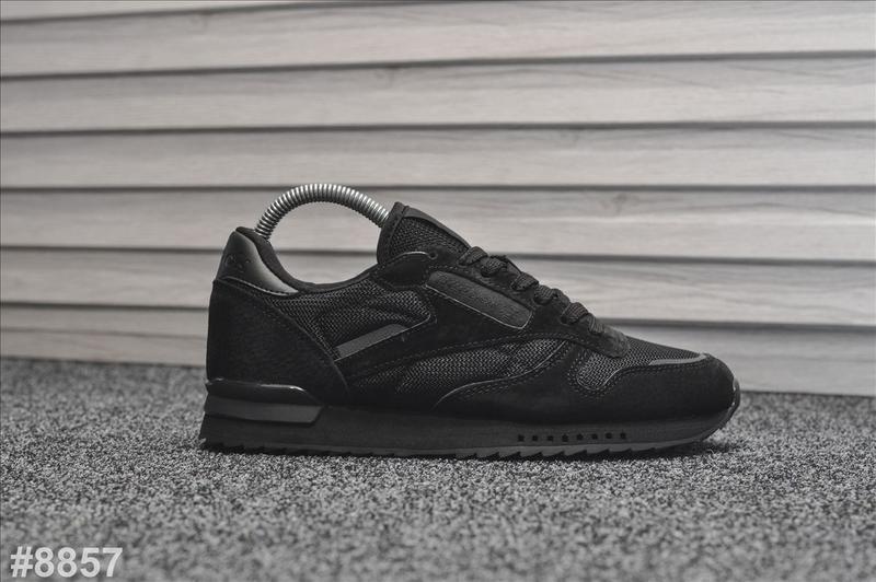 Шикарные мужские кроссовки reebok classic black чёрные