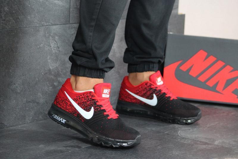Шикарные мужские кроссовки nike air max чёрные с красным