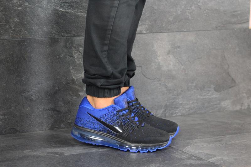 Шикарные мужские кроссовки nike air max чёрные с синие