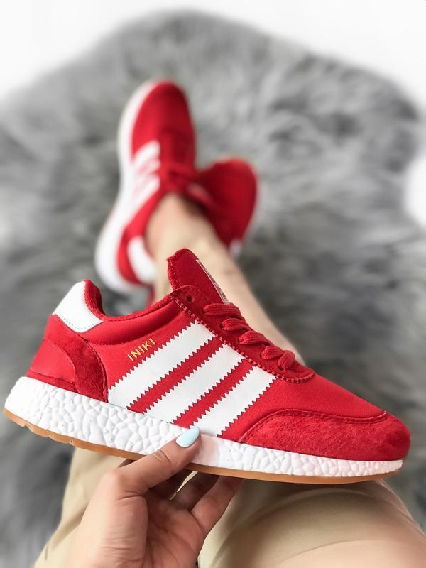 Шикарные женские кроссовки adidas iniki red красные