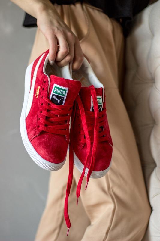 Шикарные женские кроссовки puma suede red красные