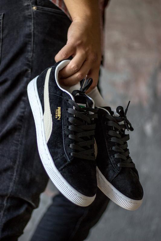 Шикарные мужские кроссовки puma suede black white
