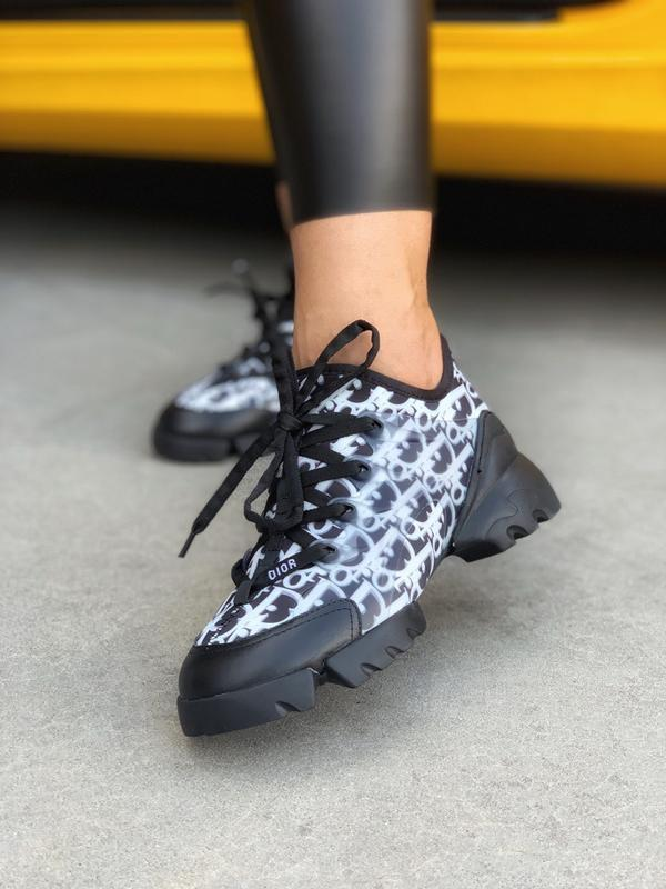 Шикарные женские кроссовки dior d-connect black white
