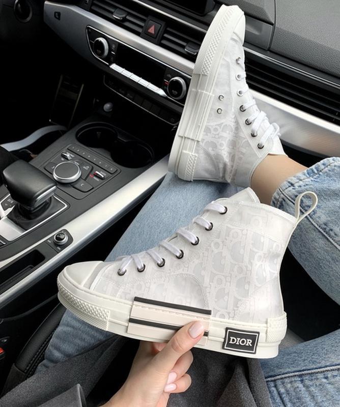 Шикарные женские кроссовки dior hight white белые