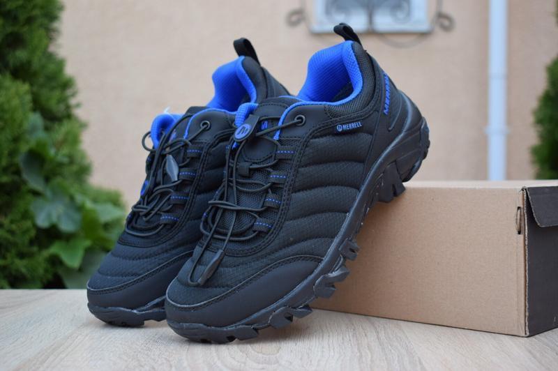Лёгкие термо полуботинки merrell vibram черные с синим
