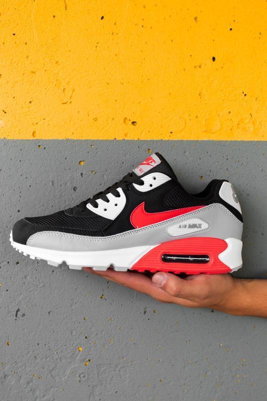 Шикарные мужские кроссовки nike air max 90 black grey red чёрн...