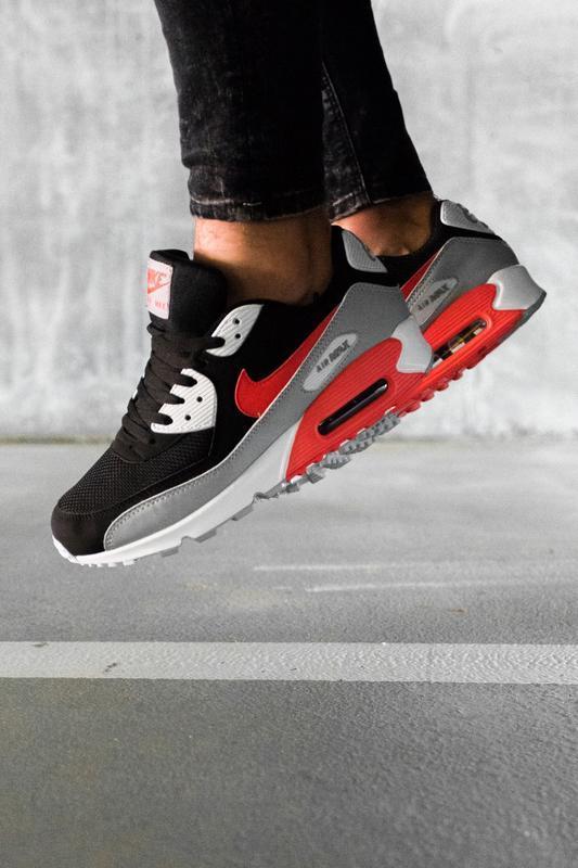 Шикарные мужские кроссовки nike air max 90 black grey red чёрн... - Фото 2