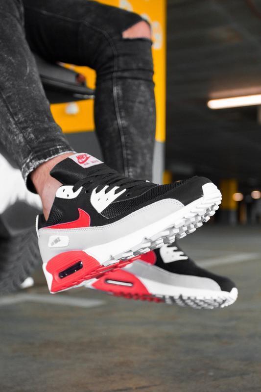 Шикарные мужские кроссовки nike air max 90 black grey red чёрн... - Фото 3