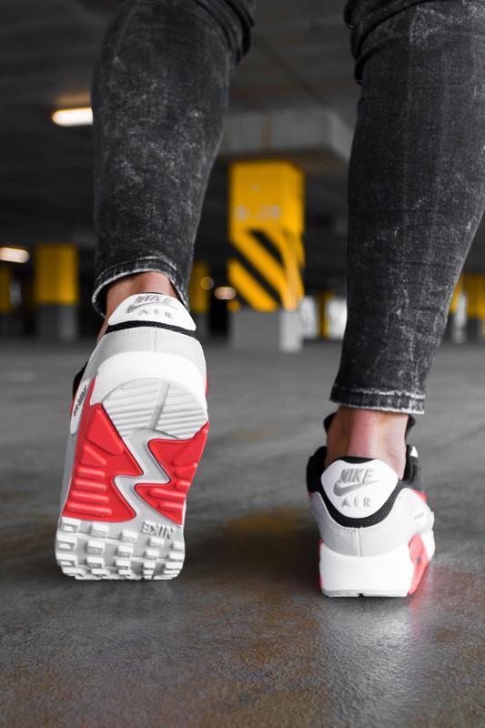 Шикарные мужские кроссовки nike air max 90 black grey red чёрн... - Фото 5