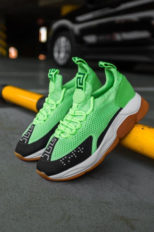 Шикарные женские кроссовки versace cross chainer green neon