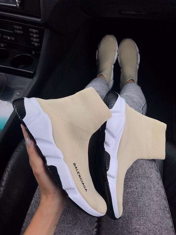 Шикарные женские кроссовки balenciaga speed trainer beige