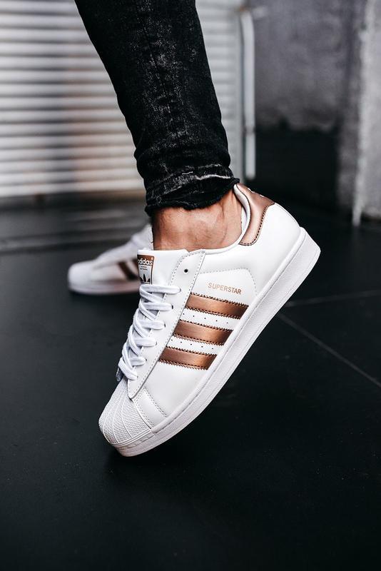 Кроссовки мужские adidas superstar white gold