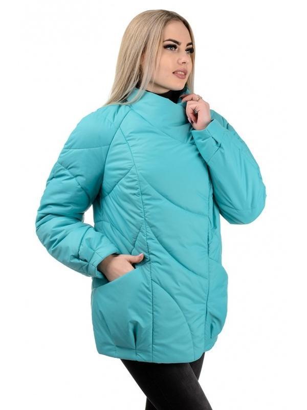 Шикарная женская осеняя куртка голубого цвета - Фото 2