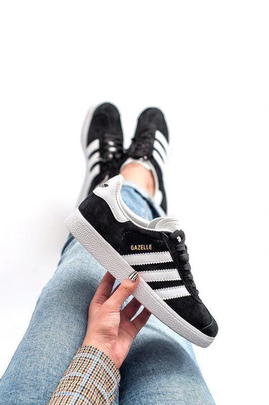 Шикарные женские кроссовки adidas gazelle чёрные