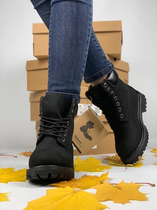 Шикарные ботинки timberland boots чёрные термо