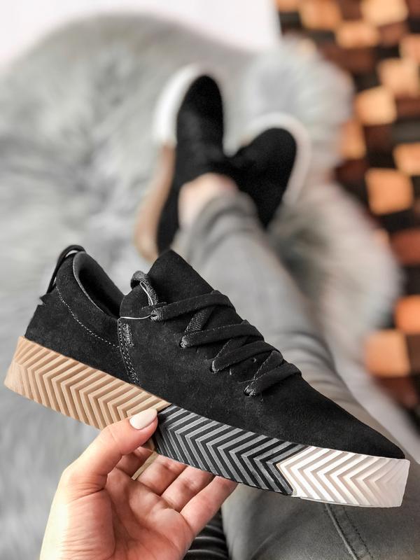Шикарные женские кроссовки adidas alexander wang чёрные