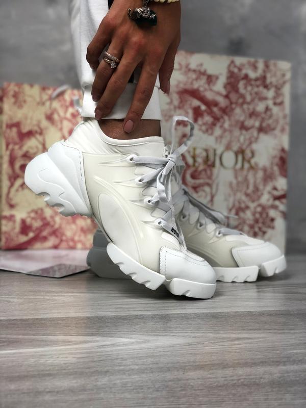 Шикарные женские кроссовки christian dior белые