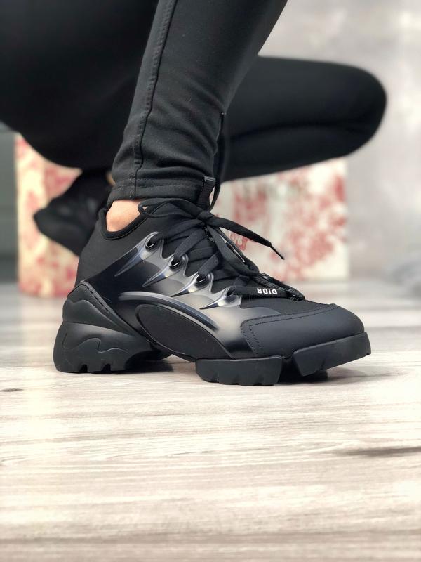 Шикарные женские кроссовки christian dior чёрные