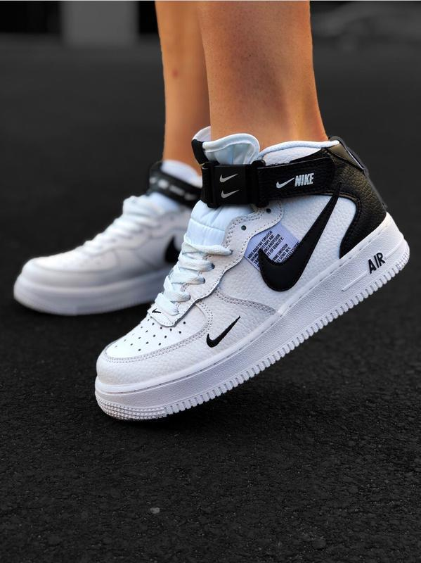 Шикарные женские кроссовки nike air force 1 high white белые - Фото 2