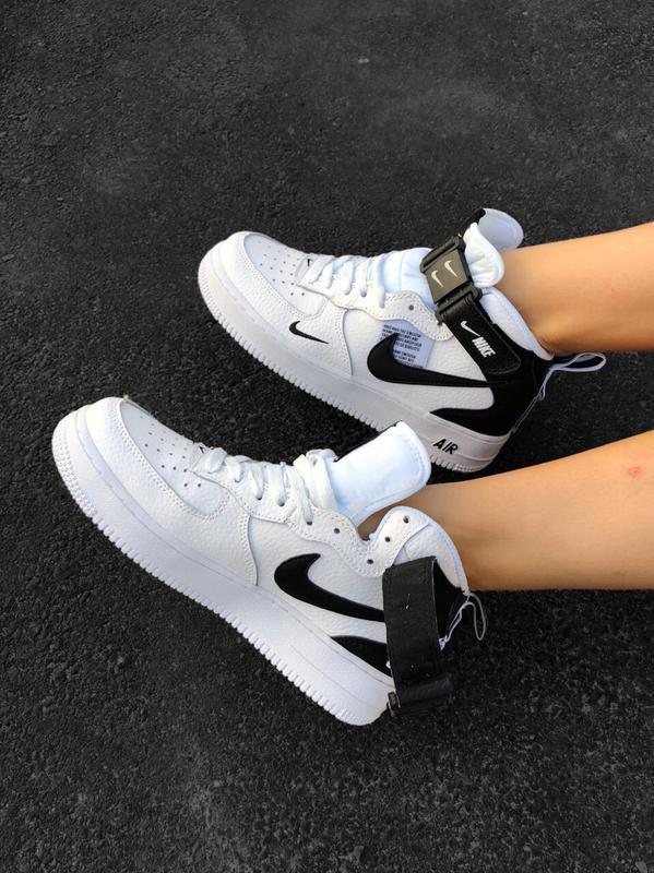 Шикарные женские кроссовки nike air force 1 high white белые - Фото 4