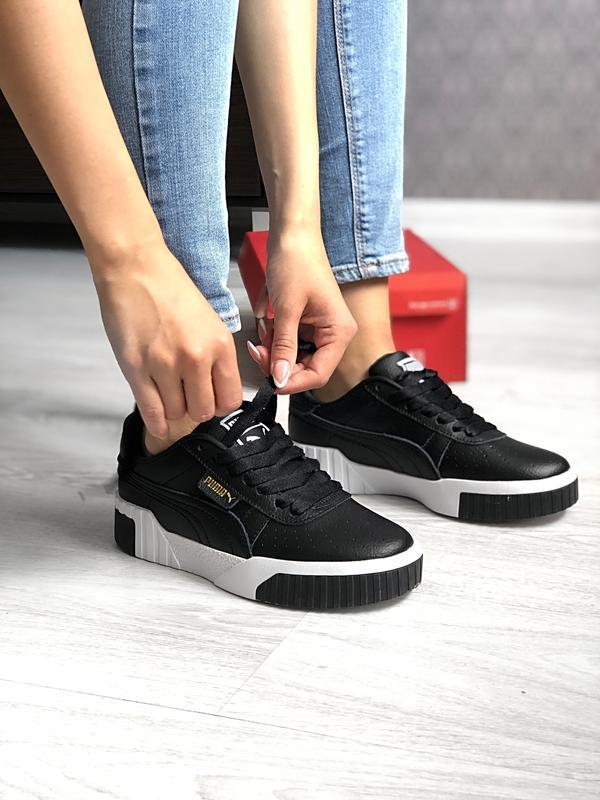 Шикарные женские кроссовки puma cali black чёрные