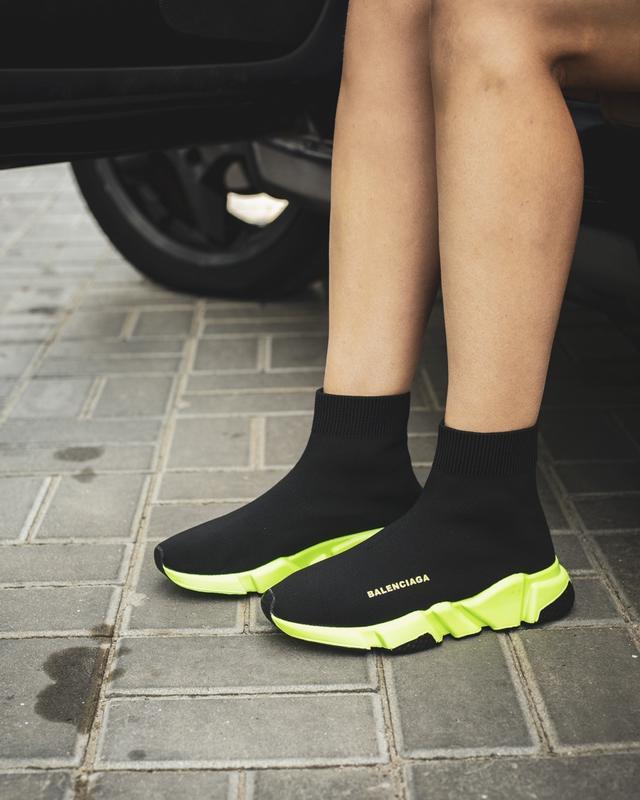Шикарные женские кроссовки balenciaga speed runner black чёрные