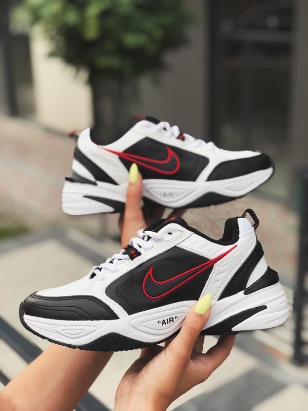 Шикарные женские кроссовки nike air monarch white black чёрные...