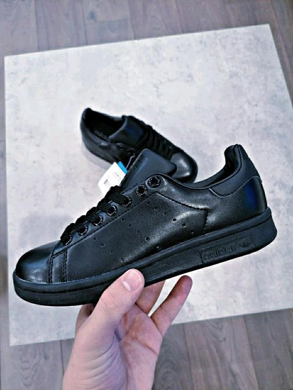 Шикарные кроссовки adidas stan smith black чёрные