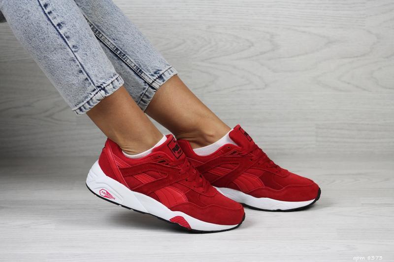 Шикарные женские кроссовки puma trinomic красные
