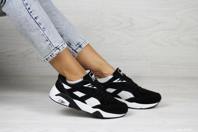 Шикарные женские кроссовки puma trinomic чёрные с белым