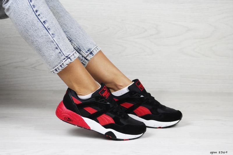 Шикарные женские кроссовки puma trinomic чёрные с красным