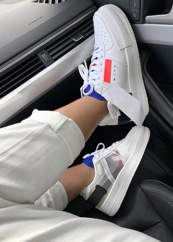 Шикарные женские кроссовки nike air force 1 type white белые