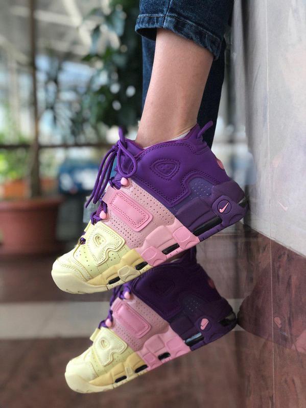 Шикарные женские кроссовки nike air more uptempo tricolor фиол...