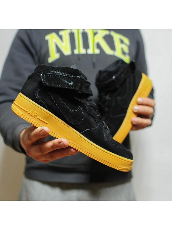 Шикарные мужские кроссовки с мехом nike air force winter black...