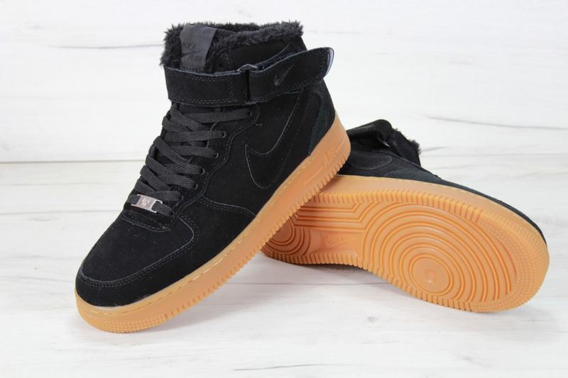 Шикарные мужские кроссовки с мехом nike air force winter black... - Фото 2