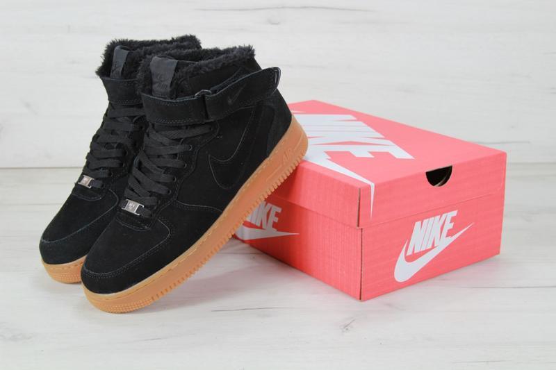 Шикарные мужские кроссовки с мехом nike air force winter black... - Фото 3