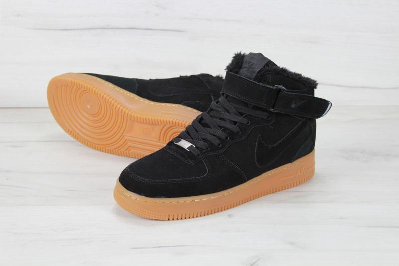 Шикарные мужские кроссовки с мехом nike air force winter black... - Фото 4