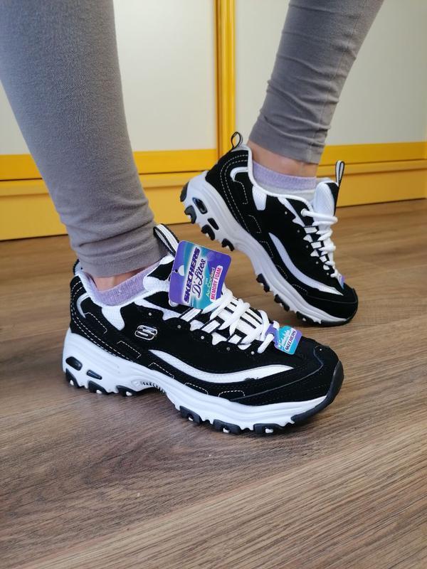 Шикарные женские кроссовки skechers black чёрные