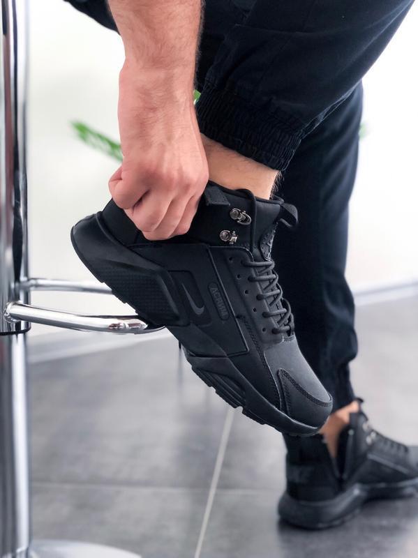 Шикарные мужские кроссовки nike huarache winter acronym чёрные