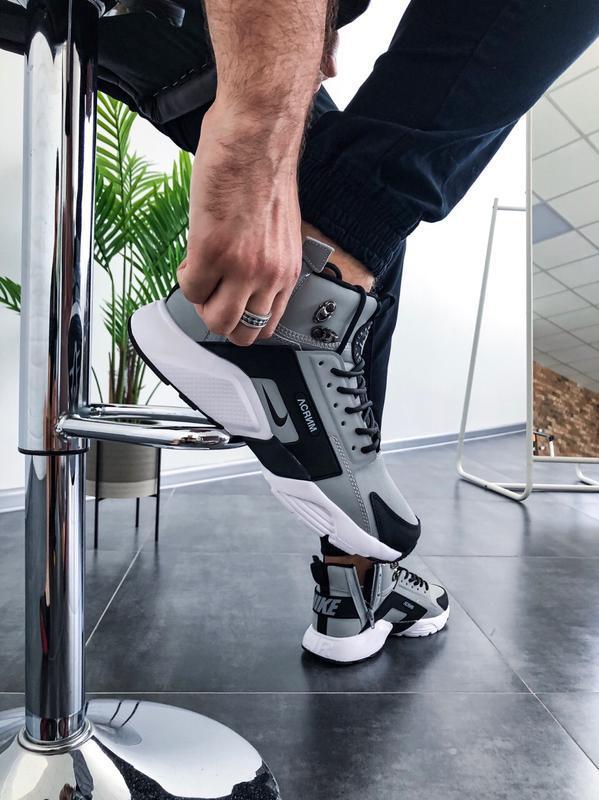 Шикарные мужские кроссовки nike huarache winter acronym серые